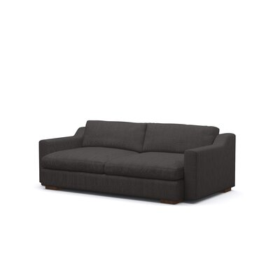 Uncle Sal Sofa Upholstery: Charcoal, Finish: Walnut