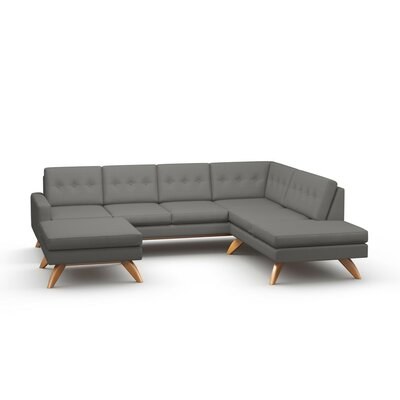 Luna Sectional with Ottoman and Bumper Body Fabric: Klein Dolphin, Leg Finish: Honey, Sectional Orientation: Left Facing