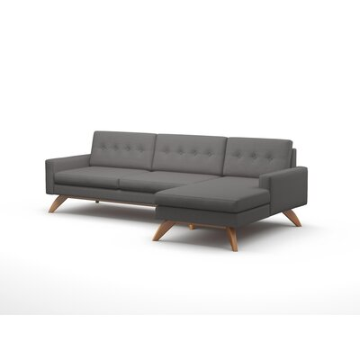 Luna 90 Sofa With Chaise Body Fabric: Klein Dolphin, Leg Finish: Honey, Sectional Orientation: Left Facing