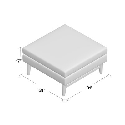 Diggity Cocktail Ottoman Body Fabric: Klein Ivory, Leg Finish: Walnut