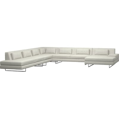 Hamlin XL Corner Sectional with Chaise Body Fabric: Klein Dove, Sectional Orientation: Left Facing