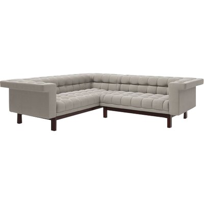 George 91x 90 Corner Sectional Sofa Body Fabric: Klein Dove, Leg Finish: Natural Walnut, Sectional Orientation: Right Facing