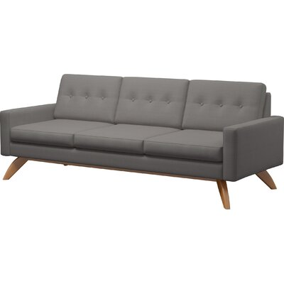Luna 90 Sofa Body Fabric: Klein Azure, Leg Finish: Walnut