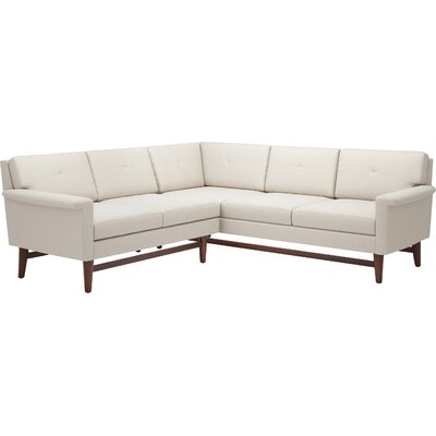 Diggity 91x 90 Corner Sectional Sofa Body Fabric: Klein Dove, Leg Finish: Honey, Sectional Orientation: Right Facing