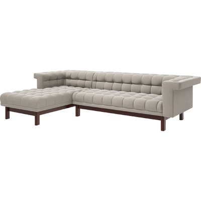 George 114 Sofa with Chaise Body Fabric: Klein Dove, Leg Finish: Espresso, Sectional Orientation: Right Facing