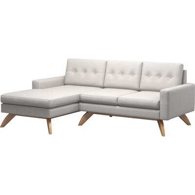 Luna 90 Sofa With Chaise Body Fabric: Klein Ivory, Leg Finish: Natural Walnut, Sectional Orientation: Left Facing