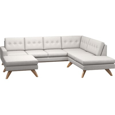 Luna Sectional with Ottoman and Bumper Body Fabric: Klein Dove, Leg Finish: Honey, Sectional Orientation: Right Facing