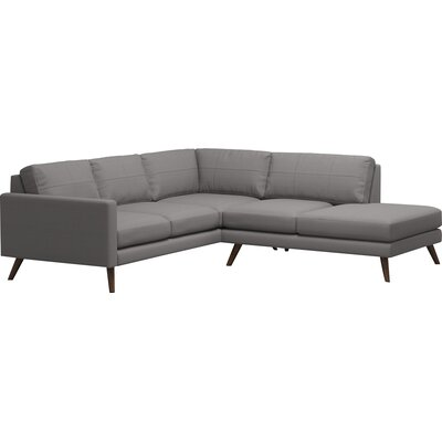 Dane Corner Sectional with Bumper Body Fabric: Klein Dolphin, Leg Finish: Natural Walnut, Sectional Orientation: Right Facing