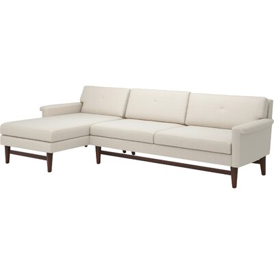 Diggity 113 Sofa with Chaise Body Fabric: Klein Dove, Leg Finish: Natural Walnut, Sectional Orientation: Left Facing