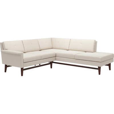Diggity Corner Sectional Sofa with Bumper Body Fabric: Klein Dove, Leg Finish: Walnut, Sectional Orientation: Right Facing