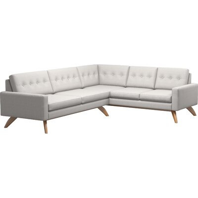 Luna 91 x 114 Corner Sectional Body Fabric: Klein Dove, Leg Finish: Honey, Sectional Orientation: Right Facing