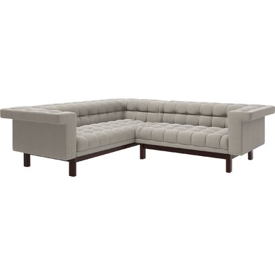 George 114.5x 91 Corner Sectional Sofa Body Fabric: Klein Dove, Leg Finish: Natural Walnut, Sectional Orientation: Right Facing