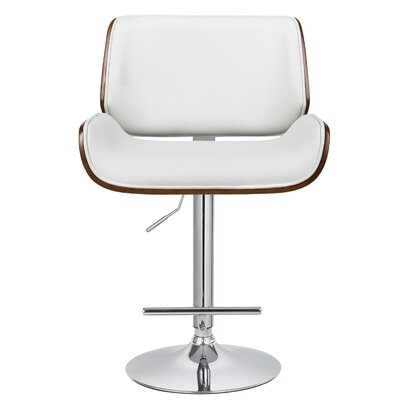 Oriole Adjustable Height Swivel Bar Stool Color: White