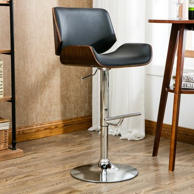 Oriole Adjustable Height Swivel Bar Stool Color: Black