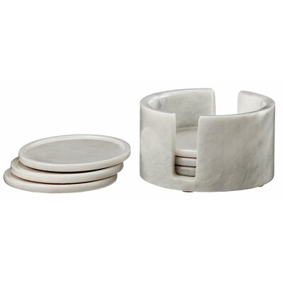 Dionysus 7 Piece Coaster Set Color: Pearl White Marble