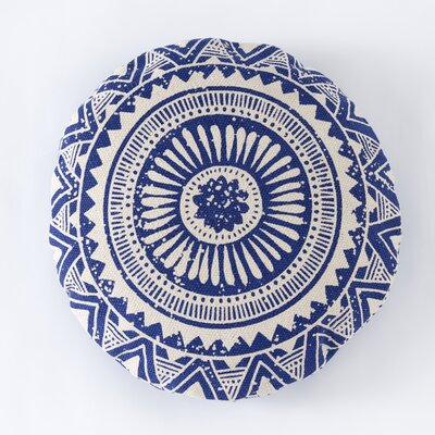 Basant Round Cotton Pillow Color: Blue
