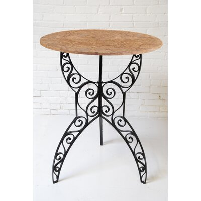 Artesano Home Decor Tuscan Pub Table - Top Finish: Brown Marble, Base Finish: Black, Size: 40