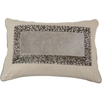 Hand Embroidery Hairon Leather Lumbar Pillow