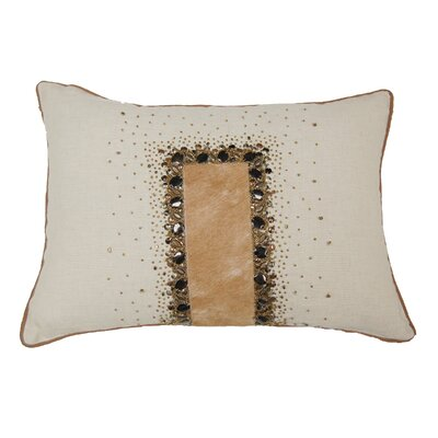 Embroidery Hairon Leather Lumbar Pillow