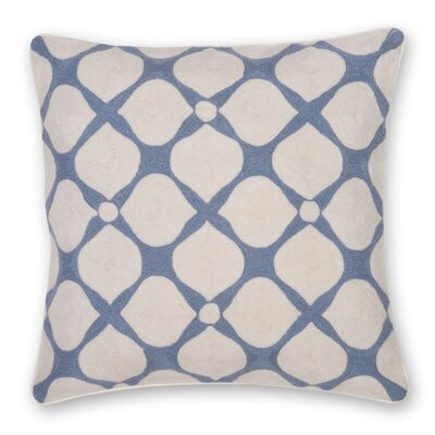 Posy Hand Embroidery Throw Pillow Color: Gray Blue
