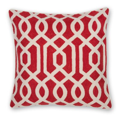 Gate Hand Embroidery Throw Pillow Color: Coral