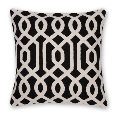 Gate Hand Embroidery Throw Pillow Color: Black