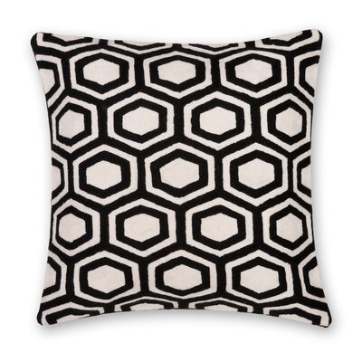 Hexagon Hand Embroidery Throw Pillow Color: Black