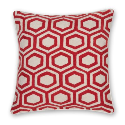 Hexagon Hand Embroidery Throw Pillow Color: Coral