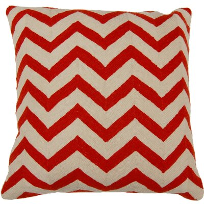 Chevron Hand Embroidery Throw Pillow Color: Coral