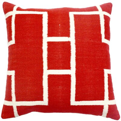 Cotton Woven Throw Pillow Color: Red