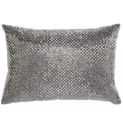 Beadwork Lumbar Pillow Color: Pewter
