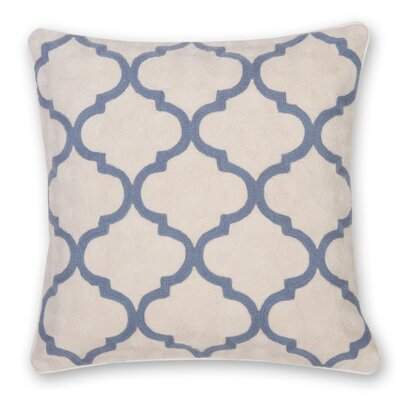 Gopura Hand Embroidery Throw Pillow Color: Gray Blue