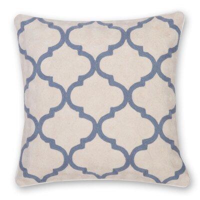 Gopura Hand Embroidery Throw Pillow Color: Gray Blue