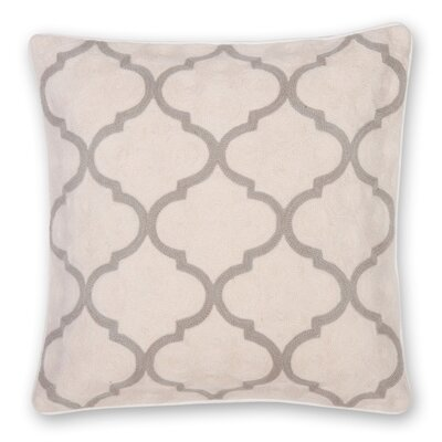 Gopura Hand Embroidery Throw Pillow Color: Natural