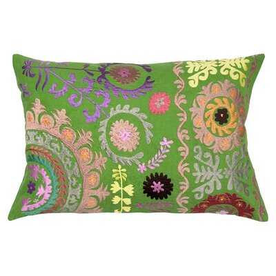 Suzani Floral Embroidery Throw Pillow Color: Green