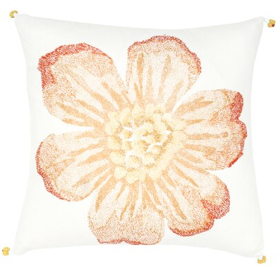 Single Flower Embroidery Throw Pillow