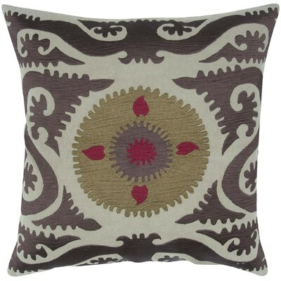 Suzani Floral Embroidery Throw Pillow Color: Coffee