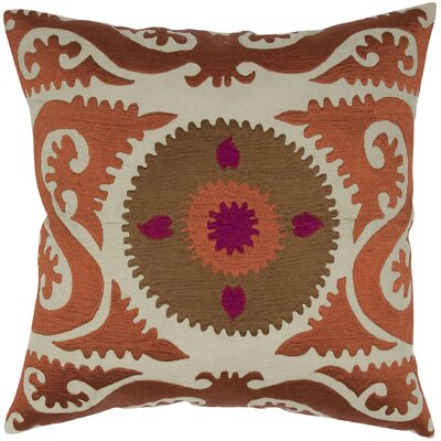 Suzani Floral Embroidery Throw Pillow Color: Rust