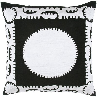 Suzani Sun Motif Embroidery Throw Pillow Color: Black