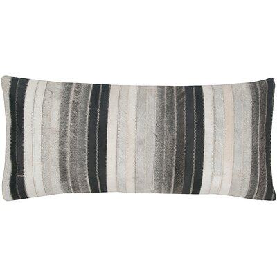 Patchwork Leather Lumbar Pillow Color: Gray