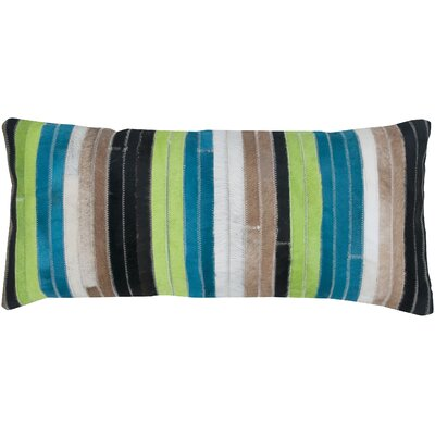 Patchwork Leather Lumbar Pillow Color: Blue