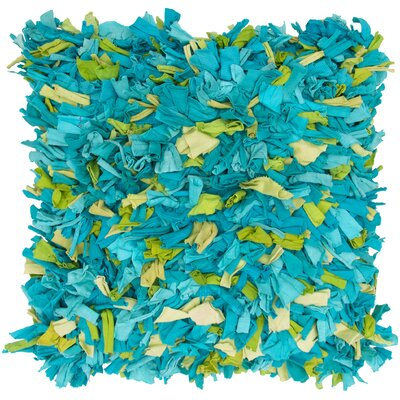 Chindi Shaggy Throw Pillow Color: Blue / Green
