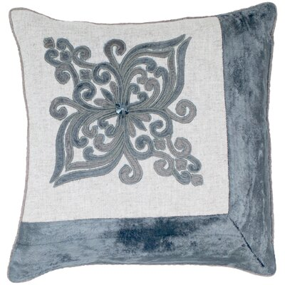 Fleur de lis Embroidery Velvet Throw Pillow