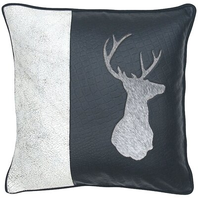 Deer Head Leather Throw Pillow