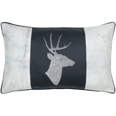 Deer Head Leather Lumbar Pillow