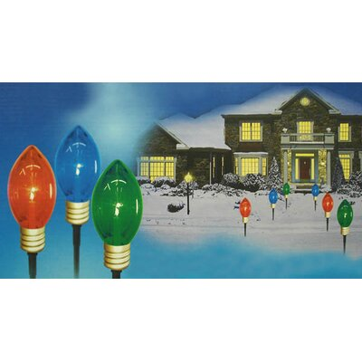 3 Piece Lighted Multi Mighty Light C7 Shape Pathway Markers Christmas Decoration Set