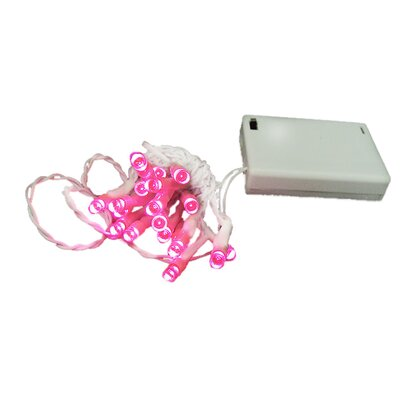 20 Wide Angle LED Battery Christmas Light String Color: White / Pink