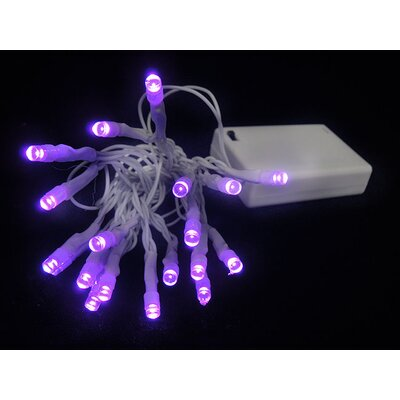 20 Wide Angle LED Battery Christmas Light String Color: White / Purple