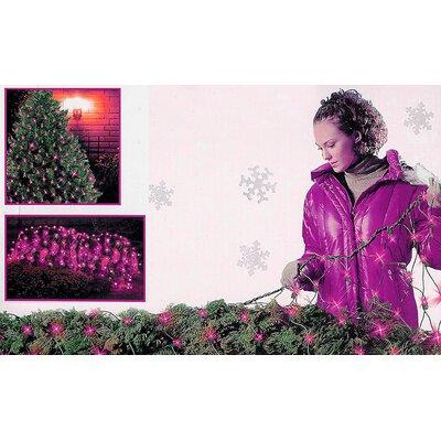"Mini Light Tree Trunk Wrap Christmas Light Net Size: 48"" W x 72"" D, Wire Color: Green, Bulb Color: Purple"