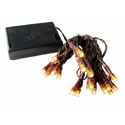 20 Wide Angle LED Battery Operated Christmas Light String Wire Color: Brown, Light Color: Warm Clear